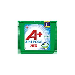 Embalagem A+ apresentada por Ariel Cápsulas Alpine 24 Doses