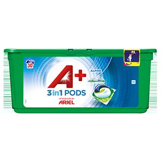 Embalagem A+ apresentada por Ariel Cápsulas Alpine 30 Doses