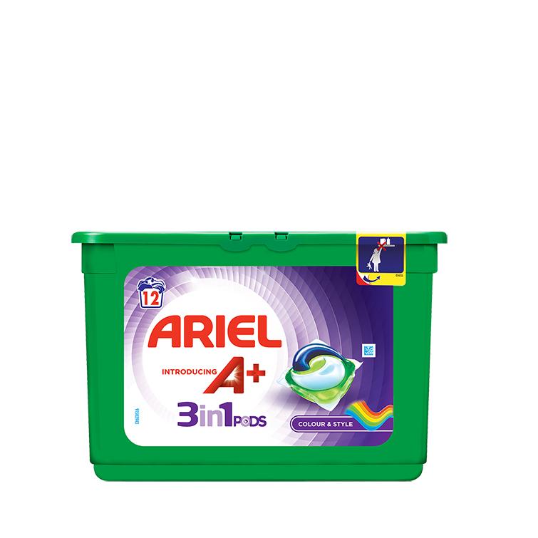 Embalagem Ariel apresenta A+ Cápsulas Color & Style 12 Doses