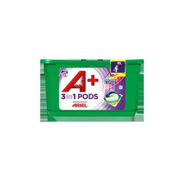 Embalagem A+ apresentada por Ariel Cápsulas Color & Style 12 Doses
