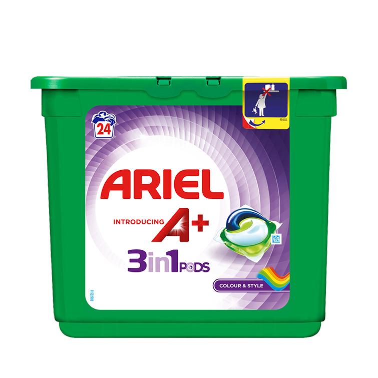 Embalagem Ariel apresenta A+ Cápsulas Color & Style 24 Doses