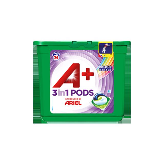 Embalagem A+ apresentada por Ariel Cápsulas Color & Style 24 Doses
