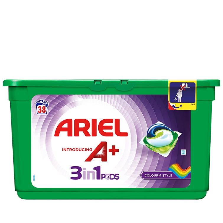 Embalagem Ariel apresenta A+ Cápsulas Color & Style 38 Doses
