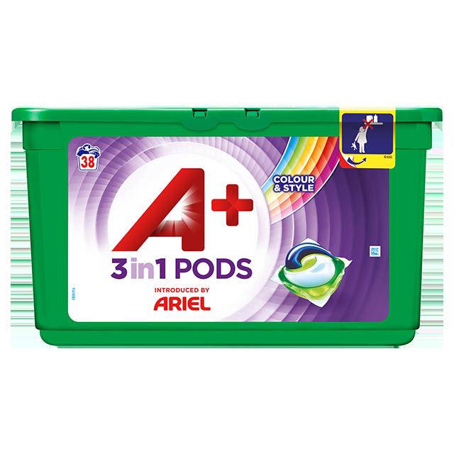 Embalagem A+ apresentada por Ariel Cápsulas Color & Style 38 Doses