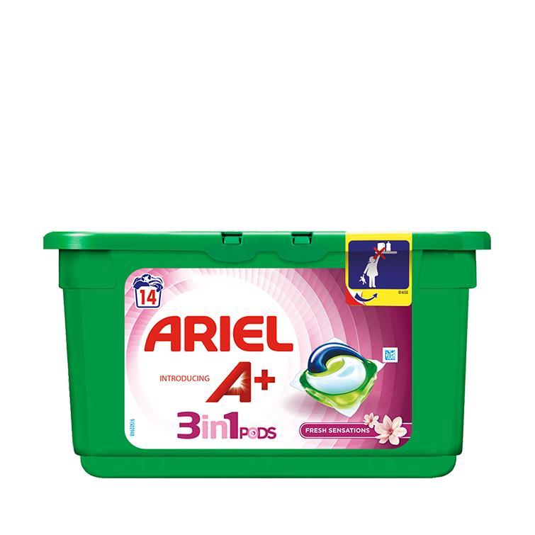 Embalagem Ariel apresenta A+ Cápsulas Fresh Sensations 14 Doses