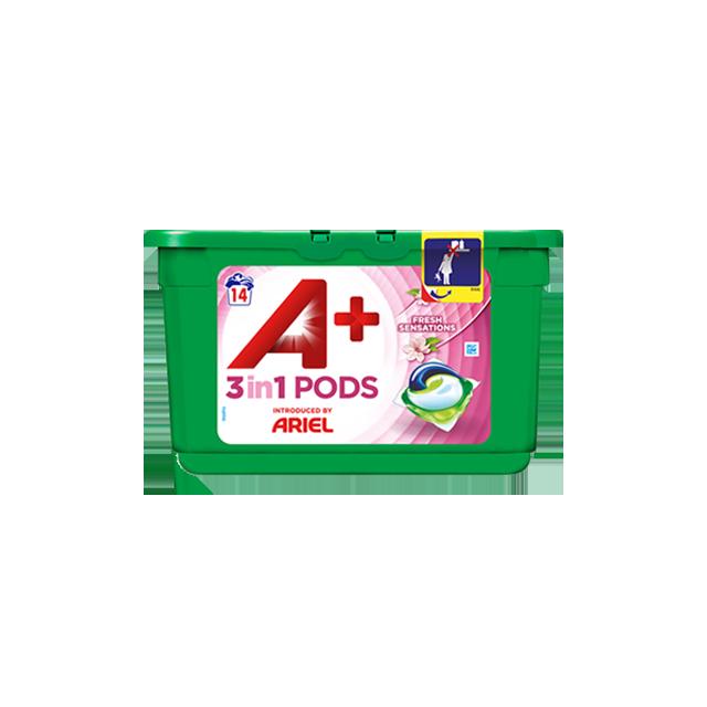 Embalagem A+ apresentada por Ariel Cápsulas Fresh Sensations 14 Doses