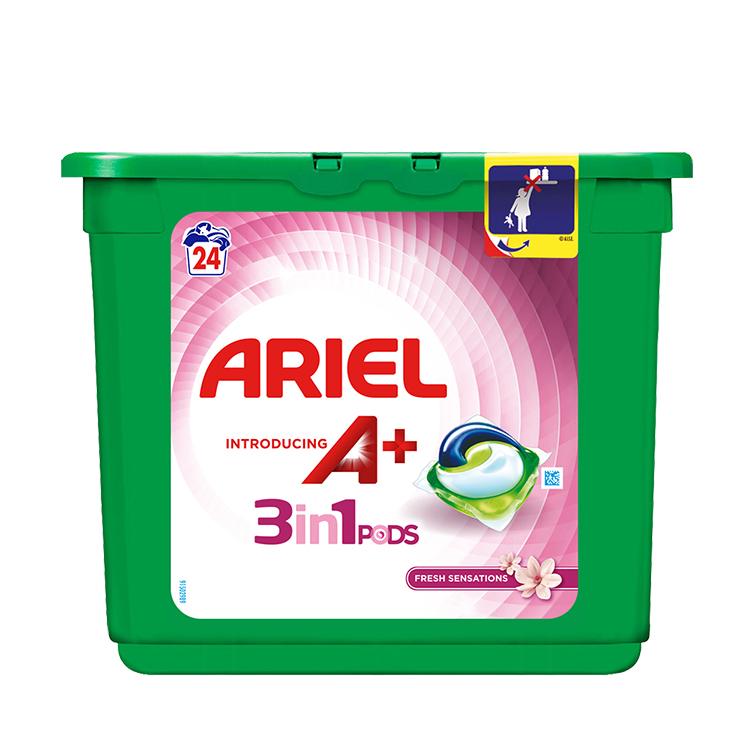 Embalagem Ariel apresenta A+ Cápsulas Fresh Sensations 24 Doses
