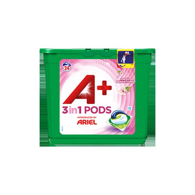 Embalagem A+ apresentada por Ariel Cápsulas Fresh Sensations 24 Doses