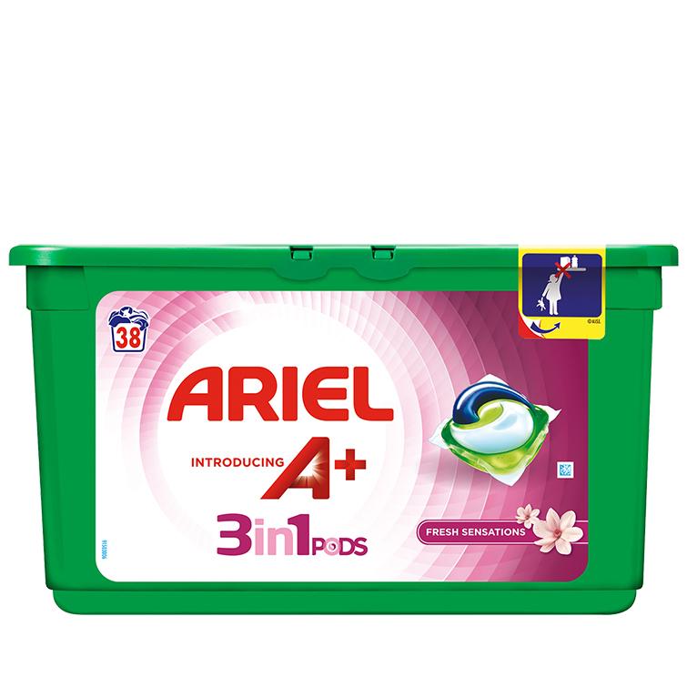 Embalagem Ariel apresenta A+ Cápsulas Fresh Sensations 38 Doses