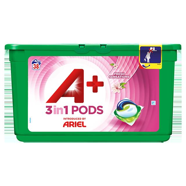 Embalagem A+ apresentada por Ariel Cápsulas Fresh Sensations 38 Doses