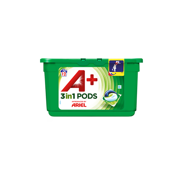 Embalagem A+ apresentada por Ariel Cápsulas Optimal 12 Doses