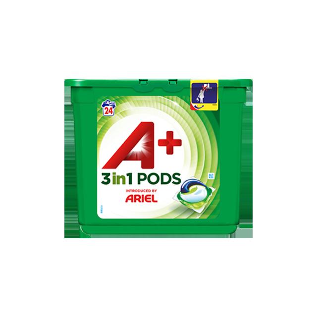 Embalagem A+ apresentada por Ariel CápsulasOptimal 24 Doses