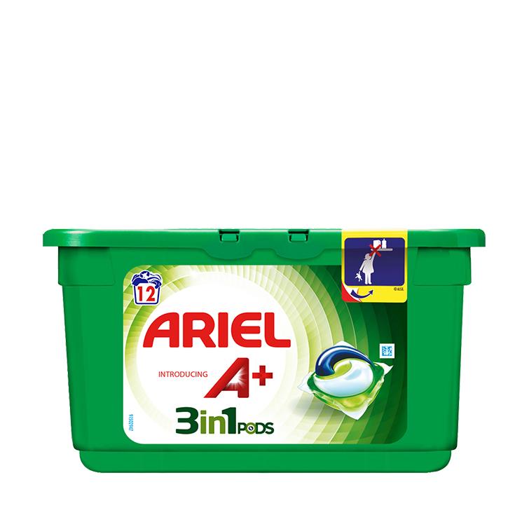 Embalagem Ariel apresenta A+ Cápsulas Original 12 Doses