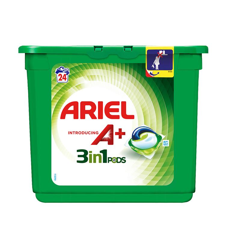 Embalagem Ariel apresenta A+ Cápsulas Original 24 Doses