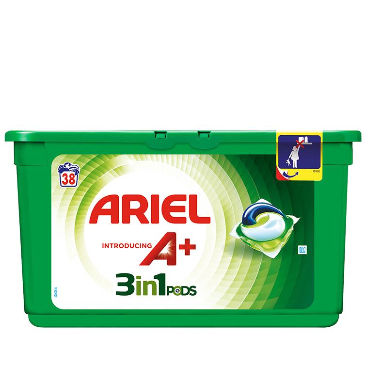 Embalagem Ariel apresenta A+ Cápsulas Original 38 Doses