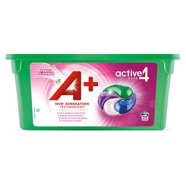 A+ Active4 Caps Fresh Flowers - Embalagem 22 lavagens