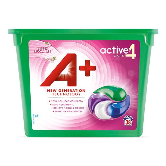 A+ Active4 Caps Fresh Flowers - Embalagem 38 lavagens