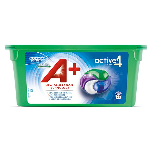 A+ Active4 Caps Mountain Breeze - Embalagem 22 lavagens
