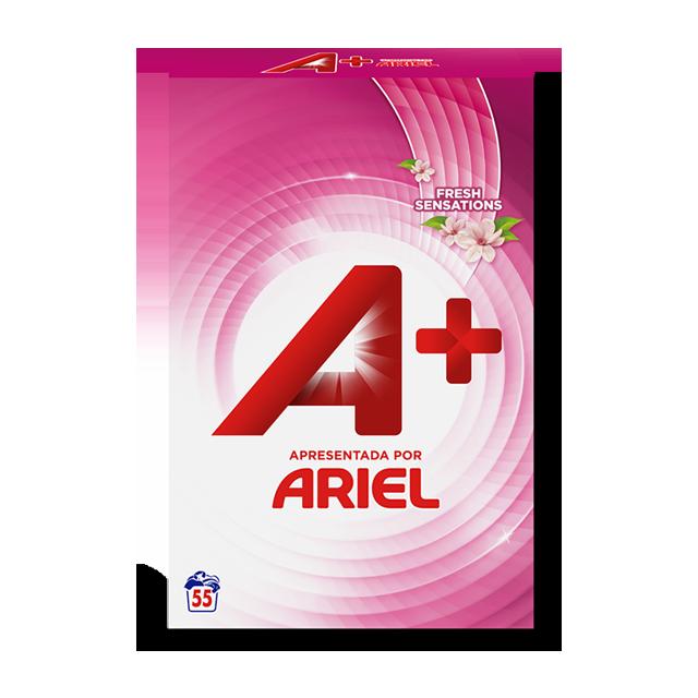 Embalagem A+ apresentada por Ariel Pó Fresh Sensations 55 Doses