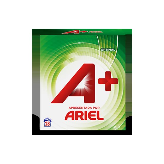 Embalagem A+ apresentada por Ariel Pó Optimal 28 Doses