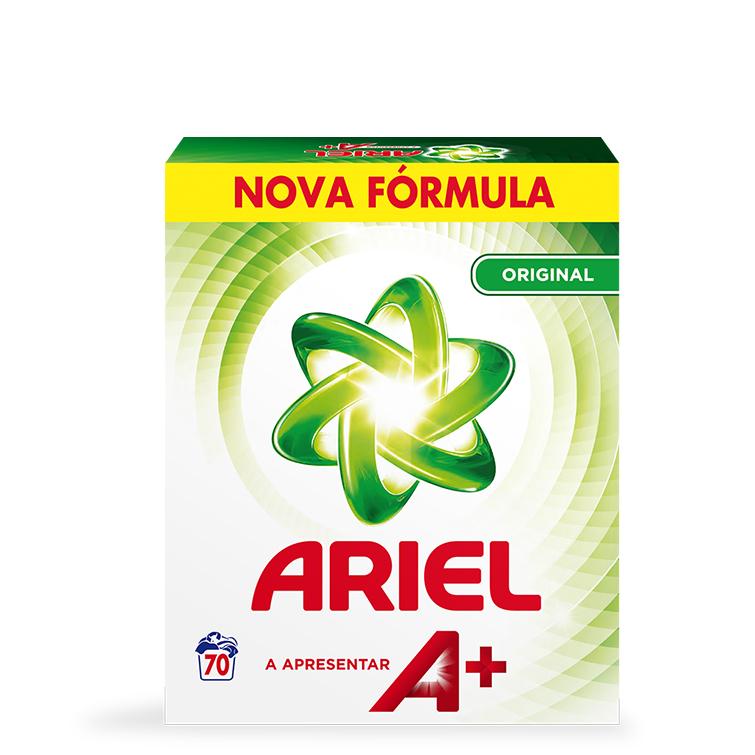 Embalagem Ariel apresenta A+ Pó Original 70 Doses